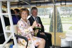 28-05-2014 Apeldoorn Princess Margriet at the unveiling of the 'Zonnebloempendelbus'' at palace Het Loo in Apeldoorn. The bus, an initiative of the Zonnebloem foundation, has an optimal accessibility for people with physical disabilities.  © PPE/Buys