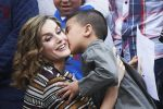 25-05-2016 Spain Queen Letizia, kissed by 5 year old Youseff, during the opening of the 11st international seminar on ��Language and journalism, the language of humor in journalism in Spanish�� at the Monastery of Yuso in San Millan de la Cogolla, Spain.