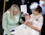27-05-2016 Baptism Princess Victoria with Princess Mette-Marit of Norway and Prince Oscar at the christening of Prince Oscar of Sweden at the Royal Chapel in Stockholm 