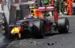28-05-2016 Crash, Max Verstappen, Red Bull Racing, formula 1 GP, Monaco.
