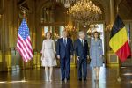 24-05-2017 Belgium Queen Mathilde and King Filip during pose with US President Donald Trump and First Lady Melania Trump in Brussels.