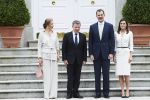 14-05-2018 Madrid Queen Letizia and King Felipe with Juan Manuel Santos Calderon, president of Colombia, and Maria Clemencia de Santos during an audience at La Zarzuela palace in Madrid.