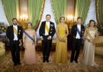 23-05-2018 Gala Queen Maxima and King Willem-Alexander and Grand duke Henri and Grand duchess Maria Teresa and Grand duke Guillaume and Grand duchess Stephanie pose before the statebanquet at Palais Grand-Ducal on the 1st day of the 3 day statevisit to Luxembourg.