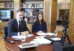 08-05-2020 King Felipe and Queen Letizia attends a videoconference with the ANECOOP management team at Zarzuela Palace in Madrid, Spain.