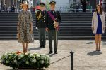 08-05-2020 Belgium Queen Mathilde of Belgium and King Philippe - Filip of Belgium pictured during a ceremony to commemorate the 75th anniversary of the end of World War II in Europe, at the Tomb of the Unknown Soldier monument in Brussels.