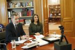 13-05-2020 King Felipe and Queen Letizia during a videoconference with General Council of Official Psychological Colleges at Zarzuela Palace in Madrid, Spain.