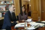 19-05-2020 Madrid King Felipe and Queen Letizia during a videoconference with those responsible for the Madrid Metro at Zarzuela Palace in Madrid, Spain.