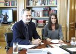 20-05-2020 Madrid King Felipe and Queen Letizia during a videoconference an open meeting with representatives of the new creative generation of the Spanish cultural scene.