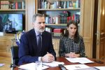 26-05-2020 Madrid King Felipe and Queen Letizia during a videoconference a videoconference with the Spanish Confederation of Travel Agencies at Zarzuela Palace in Madrid, Spain.