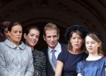 19-11-2011 Monaco (L to R) Princess Stephanie de Monaco, Charlotte Casiraghi, Pierre Casiraghi, Andrea Casiraghi, Princess Caroline of Hanover and Alexandra of Hanover at the balcony of the Monaco Palace, during the celebrations marking Monaco's National Day.  (c) PPE/Nieboer  PPE-Agency/Edwin Veloo www.ppe-agency.com  Anemonenweg 52 2241 XM Wassenaar M. 06-43497725 F 084-7384869  If you have any questions please call or e-mail us with your inquiries