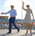 21-11-2013 Aruba Queen Maxima and King Willem-Alexander during a sportevent at the stadion Guillermo Trinidad on the last day at the Dutch Antillen, Aruba.© PPE/Nieboer/pool