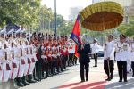 09-11-2018 Cambodian Cambodian King Norodom Sihamoni (3rd R, front) inspects the guard of honor during the independence day celebration in Phnom Penh, Cambodia.
