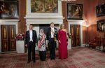 21-11-2018 Gala Queen Maxima and King Willem-Alexander with the president of Singapore, Mrs. Halimah Yacob, and her husband Mohamed Abdullah Alhabshee during the statebanquet on the 1st day of the 3 day statevisit of to the Netherlands at the royal palace in Amsterdam.