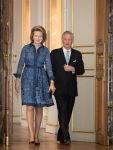 13-11-2019 Queen Mathilde of Belgium and King Philippe - Filip of Belgium pictured during a royal reception for people who have been bestowed with the grace of nobility at the Royal Palace in Brussels, Belgium. 