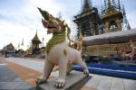 02-10-2017 Bangkok Sculpture of a mythical creature in front of the royal crematorium for the late Thai King Bhumibol Adulyadej in Bangkok, Thailand. 