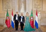 10-10-2017 Staatsbanket Queen Maxima and King Willem-Alexander with President Rebelo de Sousa during the statebanquet at Palacio da Ajuda on the 1st day of the 3 day statevisit to Portugal.