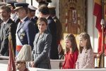 12-10-2017 Spain King Felipe and Queen Letizia and Princesses Leonor and Princess Sofia inspecting the troops during the National Day military parade in Madrid, Spain.