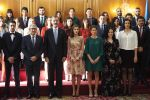 20-10-2017 Hotel Queen Letizia and King Felipe during an audience with the winners of the Princesa de Asturias Awards and the winners of the End of Career Awards 2016 of the University of Oviedo at the Reconquista Hotel in Oviedo.
