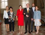 28-09-2013 Castello Prince Carlos de Bourbon de Parme and Princess Annemarie de Bourbon de Parme-Gualtherie van Weezel and Princess Margarita de Bourbon de Parme and Tjalling ten Cate and Princess Carolina de Bourbon de Parme and Princess Maria Theresia van Bourbon-Parme at the Order Palazo Farnese Piacenza and the  Holy Mass ( Chiesa di San Sisto Piacenza) in Piacenza in Italy  © PPE/Nieboer