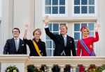 16-09-2014 Balcony Queen Maxima and King Willem-Alexander and Princess Laurentien and Prince Constantijn on the balcony of palace Noordeinde during Prinsjesdag, the presentation of the dutch 2015 budget memorandum and the opening of the parliamentary year in The Hague.  © PPE/Nieboer