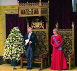 16-09-2014 Ridderzaal Queen Maxima and King Willem-Alexander during Prinsjesdag (Troonrede) at the Hall of Knights for the presentation of the dutch 2015 budget memorandum and the opening of the parliamentary year in The Hague.   © PPE/v.d. Werf